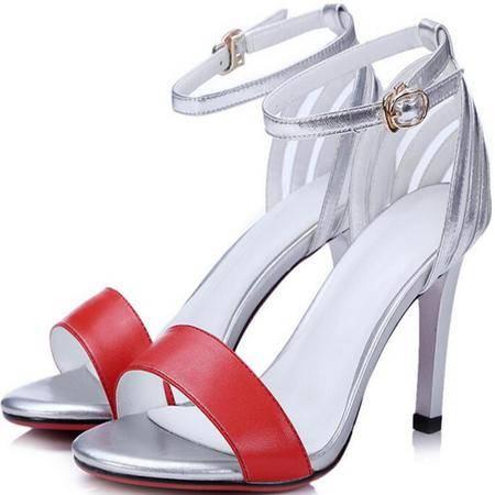 欧美新款镂空搭扣细高跟女士凉鞋夏季 时尚拼色鱼嘴凉鞋