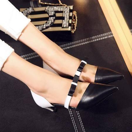 欧美女士凉鞋新款 小香风尖头中跟拼色凉鞋蝴蝶结包头凉鞋女中跟
