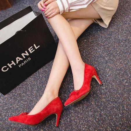 2016欧美纯色尖头细跟高跟鞋 百搭时尚浅口流苏女士真皮单鞋