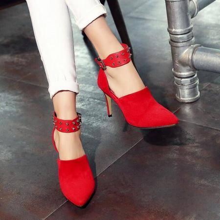 2016新品韩版尖头中空细高跟真皮高跟鞋时尚一字式扣带女士单鞋