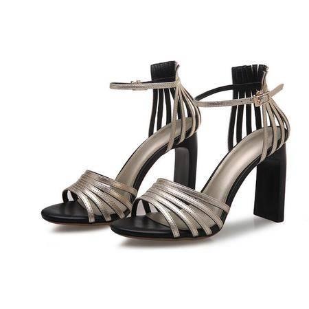 2016欧美新款女士高跟鞋 纯色镂空女士凉鞋女 粗跟搭扣女鞋