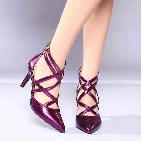2016欧美新款女鞋夏 时尚女士高跟鞋 绑带搭扣尖头高跟凉鞋