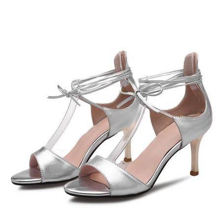 欧美新款细高跟时装女凉鞋脚环绑带舒适鱼嘴纯色真皮女鞋
