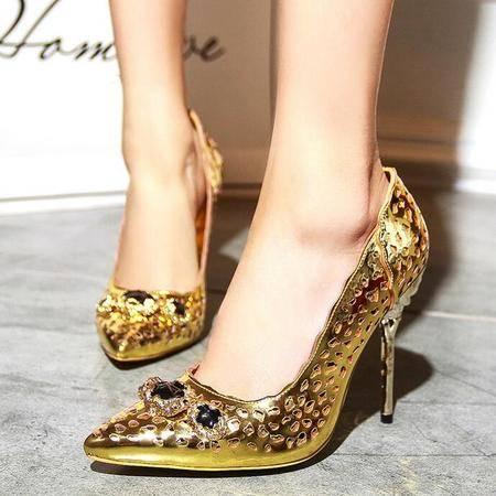欧美时尚前沿高端女鞋浅口尖头细高跟鞋女士镂空浅口金色超高跟鞋