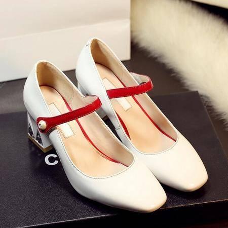 2016春夏季新款韩版真皮粗跟圆头高跟女鞋珍珠纯色单鞋子
