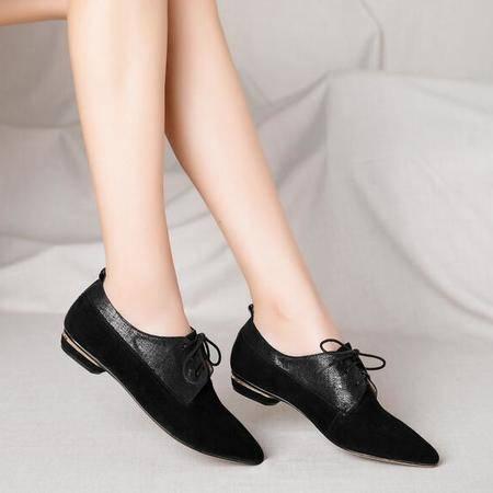 英伦街拍百搭潮流单鞋2016新款系带羊皮明星同款低跟女鞋