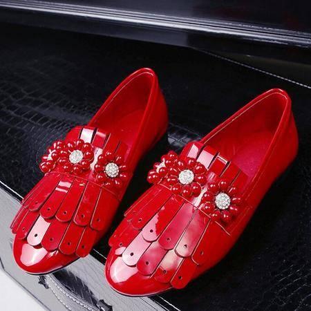 2016春款女单鞋水钻流苏圆头低跟女鞋韩版百搭里外全皮单鞋潮