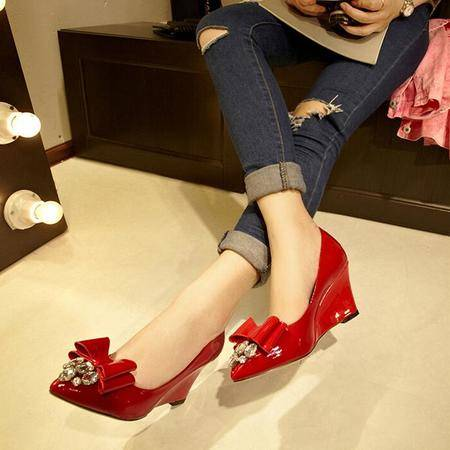2016韩版新款蝴蝶结尖头纯色高跟鞋浅口坡跟单鞋潮流时尚女鞋