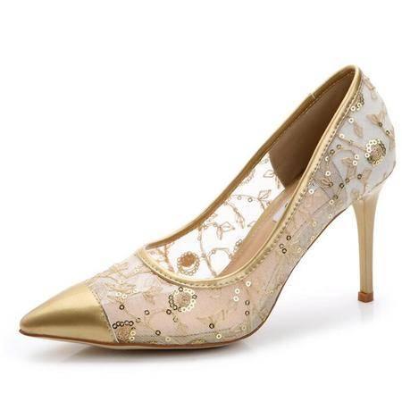 高跟鞋欧美时尚女鞋2016春夏款细跟网纱单鞋性感镂空网鞋