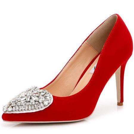 2016红色婚鞋水钻平底单鞋婚纱水晶浅口高跟鞋大码女鞋