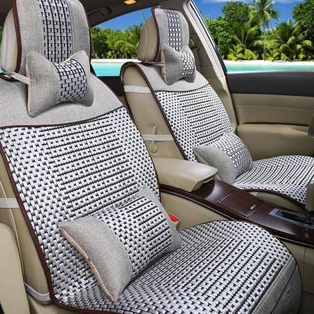 经典冰丝款汽车坐垫 新款四季高档亚麻座垫座套子内饰用品
