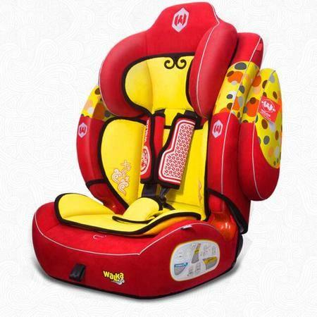 儿童安全座椅麒麟座9个月到12岁红色汽车安全座椅