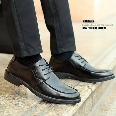 夏季男鞋男士商务正装皮鞋男真皮英伦尖头系带牛皮鞋子青年
