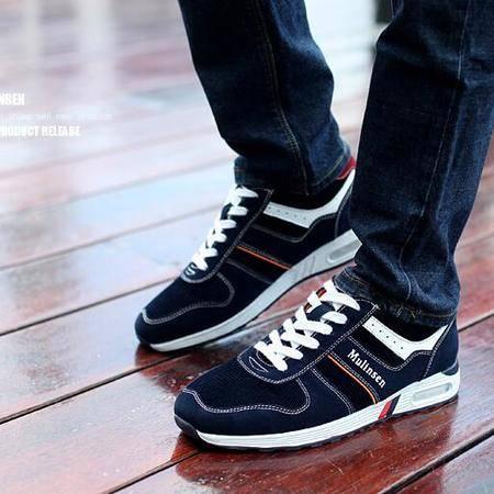 男鞋春季潮鞋男士运动鞋跑步鞋韩版透气休闲鞋真皮鞋子低帮