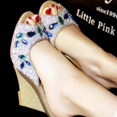 夏季新品2016女士凉拖鞋亮片水钻浅口凉拖中跟坡跟拖鞋女