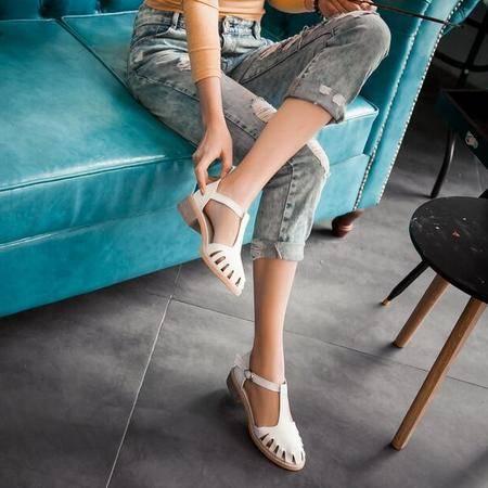 凉鞋 女 新款2016一字带低跟凉鞋女女士浅口单鞋波西米亚大码松糕