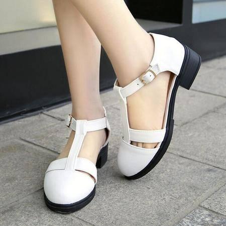 夏季凉鞋 学院风甜美学生鞋圆头搭扣透气罗马凉鞋女
