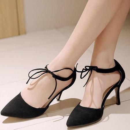 新款绒面单鞋女 尖头浅口系带真皮高跟鞋女士欧美镂空鞋