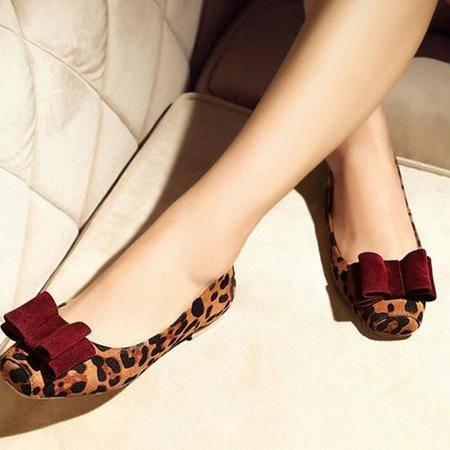 2016春季新款浅口平跟鞋欧美平底单鞋时尚豹纹蝴蝶结舒适单鞋