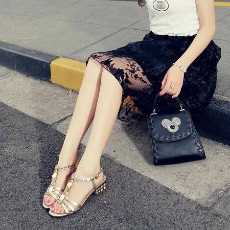 2016韩版真皮夏季新款女士凉鞋 粗跟水钻凉鞋低跟舒适牛筋底女鞋