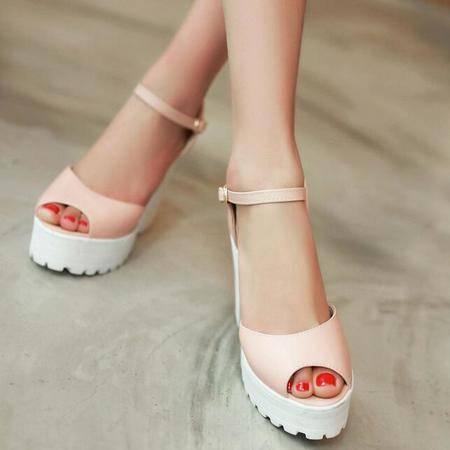 2016夏季新品女鞋韩版高跟粗跟凉鞋女士漆皮增高纯色凉靴