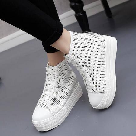 2016夏季韩版太阳的后裔增高宋慧乔同款鞋高帮女透气真皮厚底单鞋