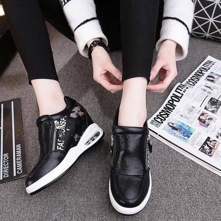 2016新款内增高女鞋时尚韩版侧拉链套脚懒人鞋女士单鞋休闲旅游鞋