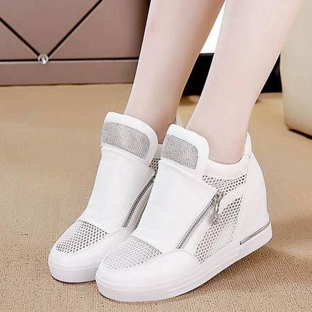 2016新款夏季韩版双拉链内增高网面鞋女水钻坡跟高帮鞋单鞋休闲鞋