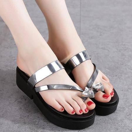 2016夏季新款韩版时尚女式人字拖鞋跟拼色夹脚凉拖厚底女平底凉鞋