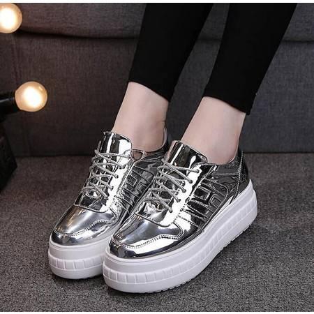 2016春季韩版亮皮系带单鞋女板鞋时尚厚底松糕休闲鞋学院风女士鞋