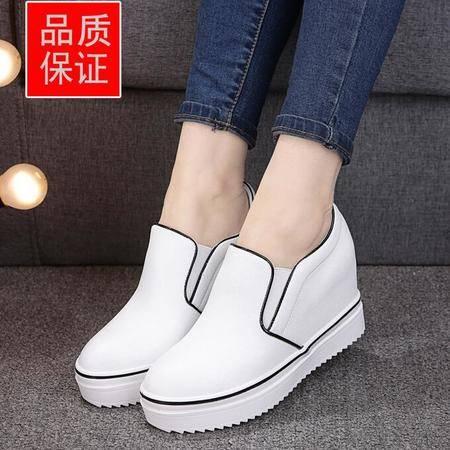 新款平底圆头一脚蹬厚底乐福鞋真皮内增高女单鞋