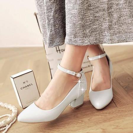 2016春季新款女式单鞋韩版气质尖头中跟鞋纯色浅口粗跟女鞋