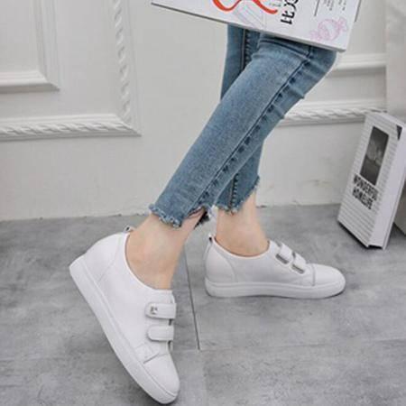 真皮魔术贴小白鞋女2016秋韩版系带圆头平底拼色单鞋女百搭平底鞋