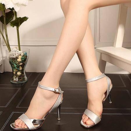 凉鞋女夏2016新款超高跟鞋露趾细跟一字带搭扣欧美女鞋