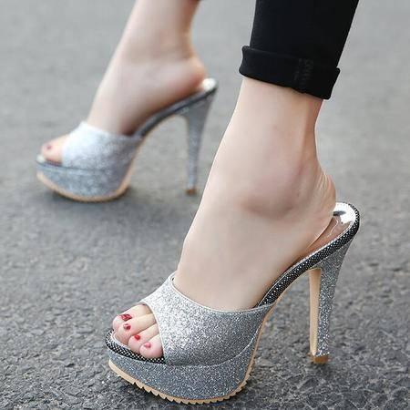 2016夏季新款超高跟凉鞋女亮片橡胶底