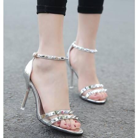 2016夏季新款圆头细跟超高跟凉鞋女