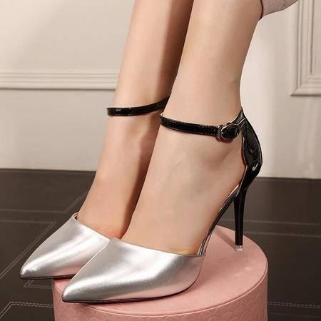 2016高跟单鞋女尖头高跟鞋细跟搭扣镂空浅口欧美女鞋