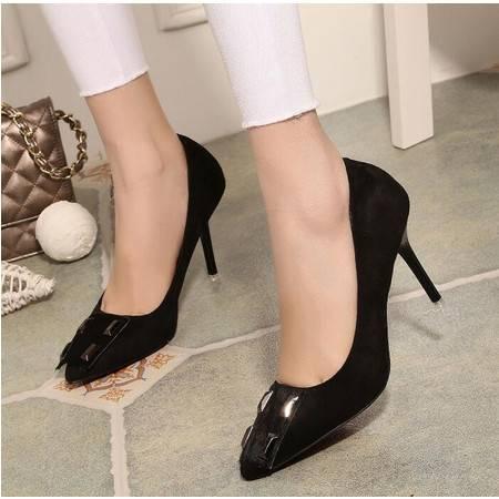2016春季新款高跟单鞋尖头高跟鞋细跟欧美铆钉浅口女鞋