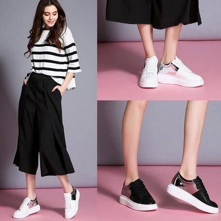 女鞋2016春夏款小白鞋女厚底系带韩版平底休闲鞋松糕底运动鞋