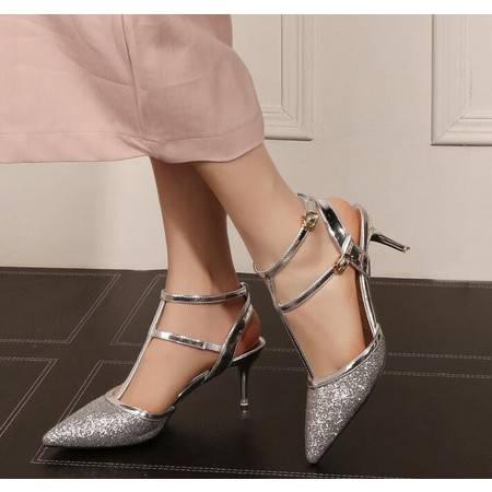 2016春夏新款凉鞋女中跟尖头细跟鞋包头搭扣亮片罗马鞋