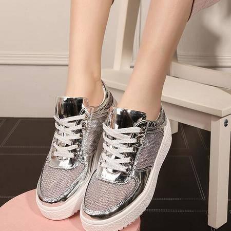 2016板鞋厚底单鞋网纱系带休闲鞋亮面运动鞋平底透气女鞋