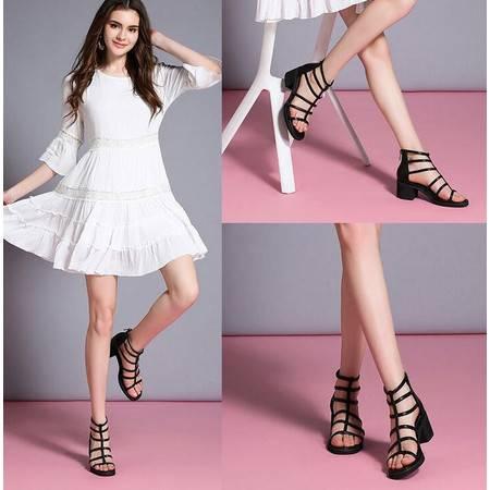 女鞋夏2016新品女装后拉链粗跟凉鞋韩版潮中跟罗马鞋