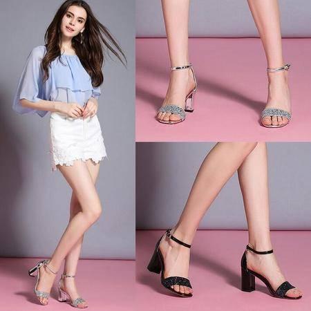 女鞋2016夏季新款粗跟凉鞋露趾高跟鞋欧美水钻浅口搭扣女鞋