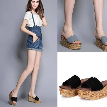 2016夏季新款一字拖厚底拖鞋坡跟鱼嘴凉鞋高跟真皮凉拖鞋