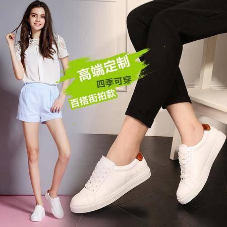女鞋2016夏秋款韩版小白鞋女系带圆头平底板鞋厚底运动休闲鞋
