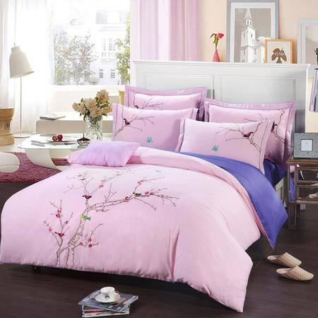 新款时尚花卉全棉床上用品 纯棉绣花四件套