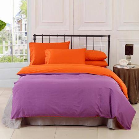 韩版纯色全棉活性素色三拼纯棉斜纹四件套批发 床上用品