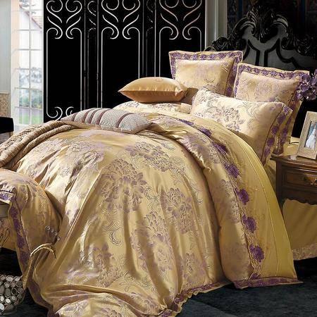 幕纱云丝床品四件套 品味奢华丝质被套 欧式典雅床上用品