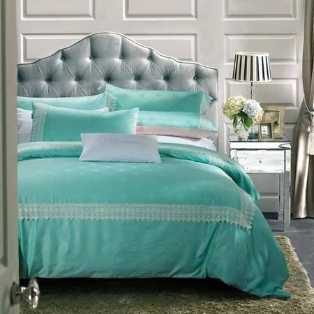 欧式简约天丝贡缎提花蕾丝花边四件套美式纯棉婚庆套件床上用品