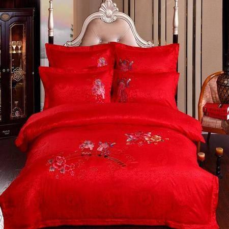 婚庆床品 新款全棉贡缎绣花四件套 六件套婚庆床上用品中国红